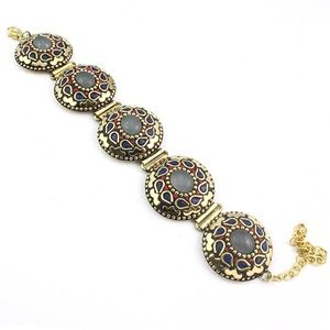 Vintage Turkish Bridal Statement Brass Bracelet